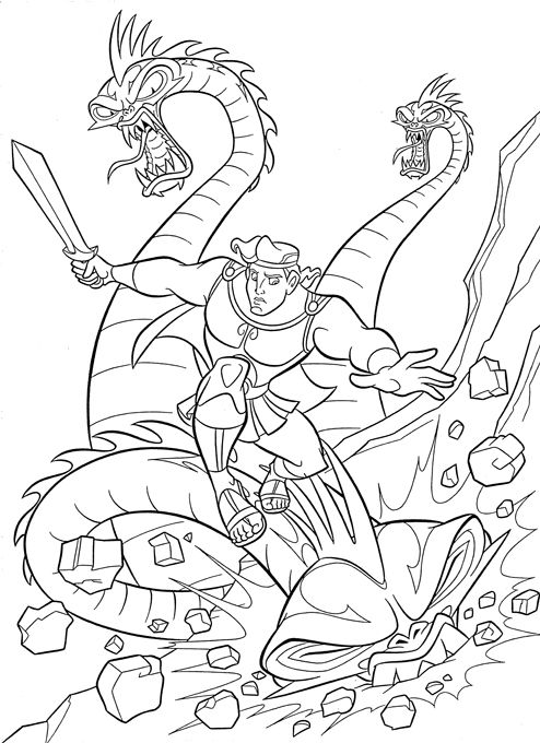 Hercules Colouring Book Disney Coloring Pages Dragon