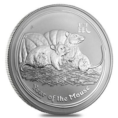 2008 1 Kilo Silver Lunar Year Of The Mouse Bu Australian Perth Mint In Cap Silver Silvercoin