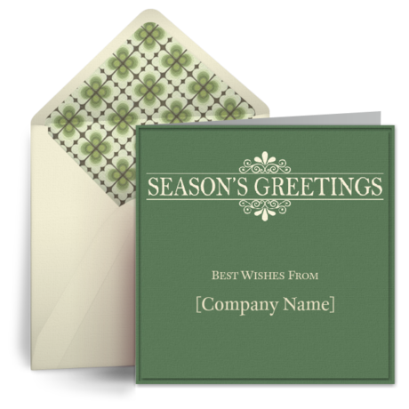 Simple seasons greetings from punchbowl h o l i d a y s send seasons greetings on behalf of your company with this crisp free ecard simple christmas greens make an elegant statement m4hsunfo