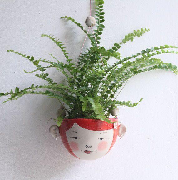 Ceramic mini hanging planter-Wren Bright orange por jolucksted
