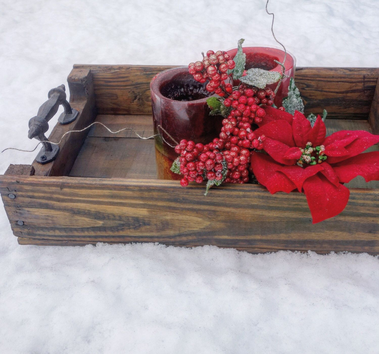 A personal favorite from my Etsy shop https://www.etsy.com/listing/232436762/rustic-wood-serving-tray-christmas-gift