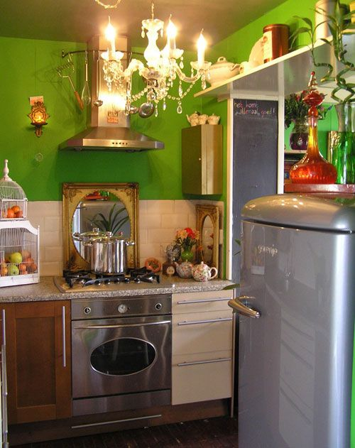 funky kitchens ideas | funky small kitchen with green wall ... on green wall modern, green wall dining room, green wall architecture, green wall lighting, green wall curtains, green wall color combinations, green wall floor plan, green wall interior, green wall home, green wall exterior, green wall living room,