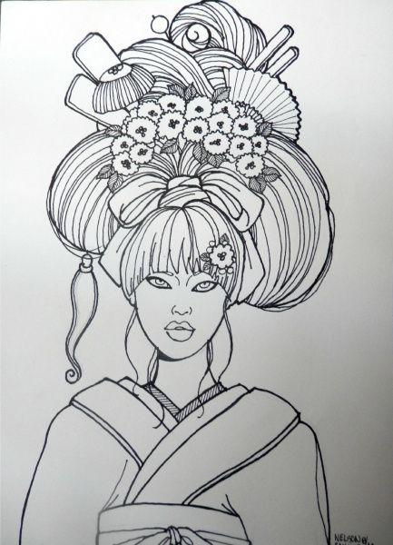 ELEGANT HAIR GEISHA | Art, Japanese drawings, Drawings