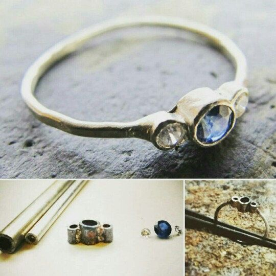 Today I made this tube set sapphire ring!