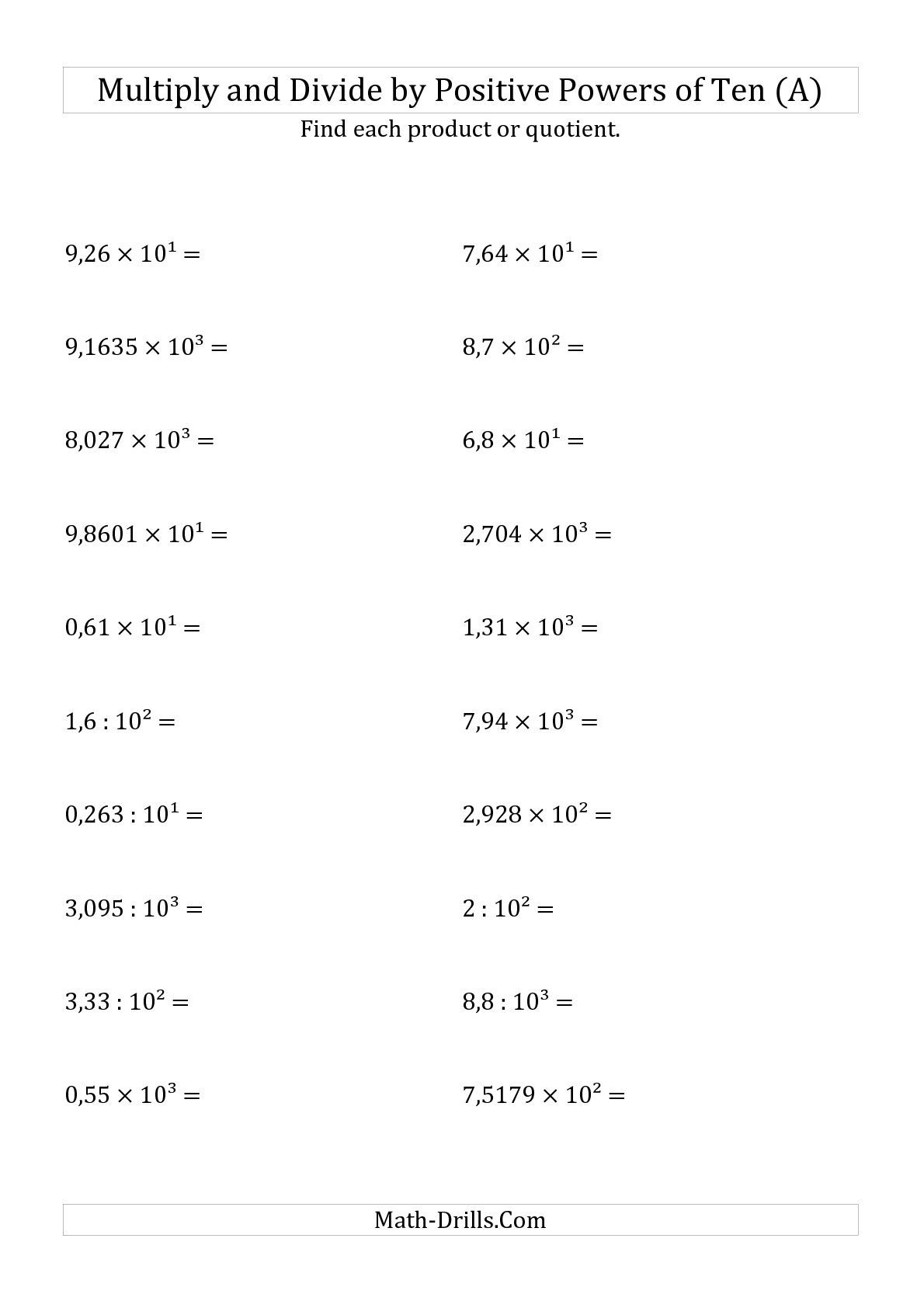 Uncategorized Divide Decimals Worksheet the multiplying and dividing decimals by positive powers of ten exponent form a