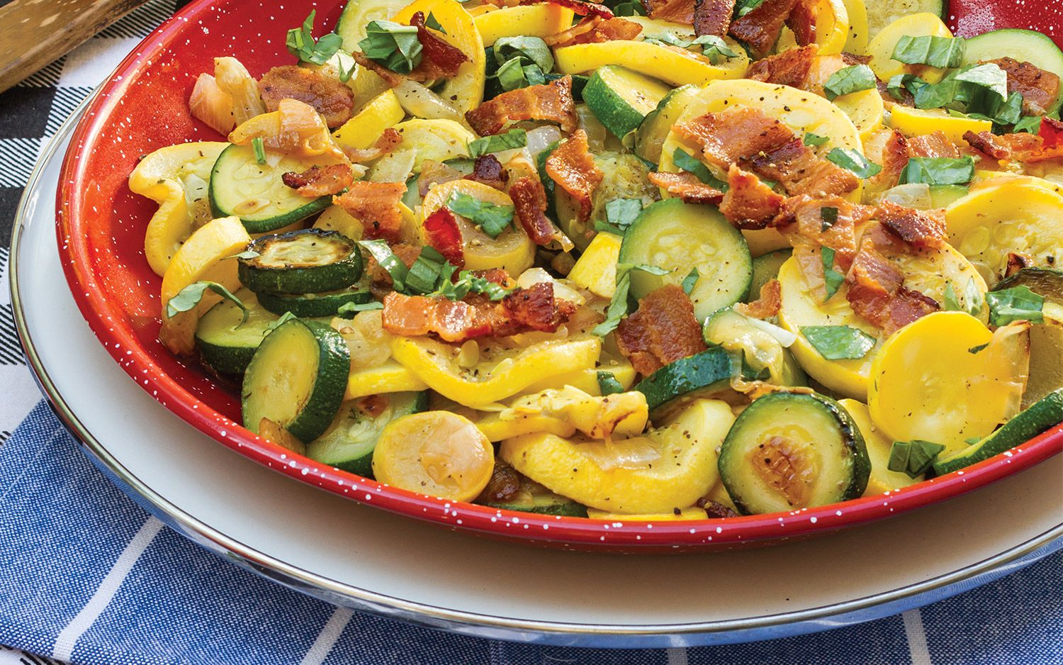 Skillet Summer Squash With Bacon And Basil Southern Lady Recipe Squash Recipes Zucchini Recipes