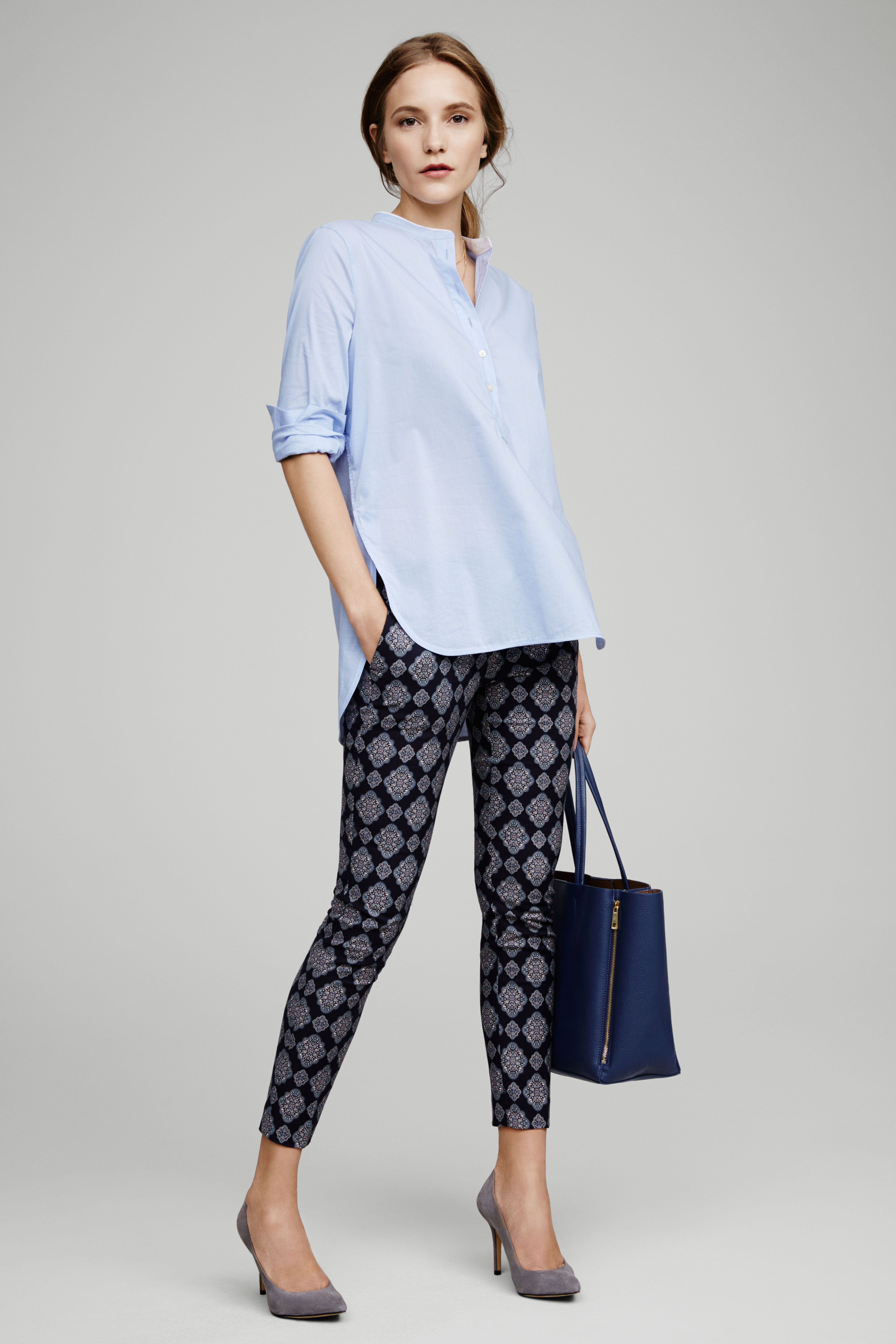 6dd9758f7c Balancing Ann Taylor s printed pant with closet classics in a complementary  palette.