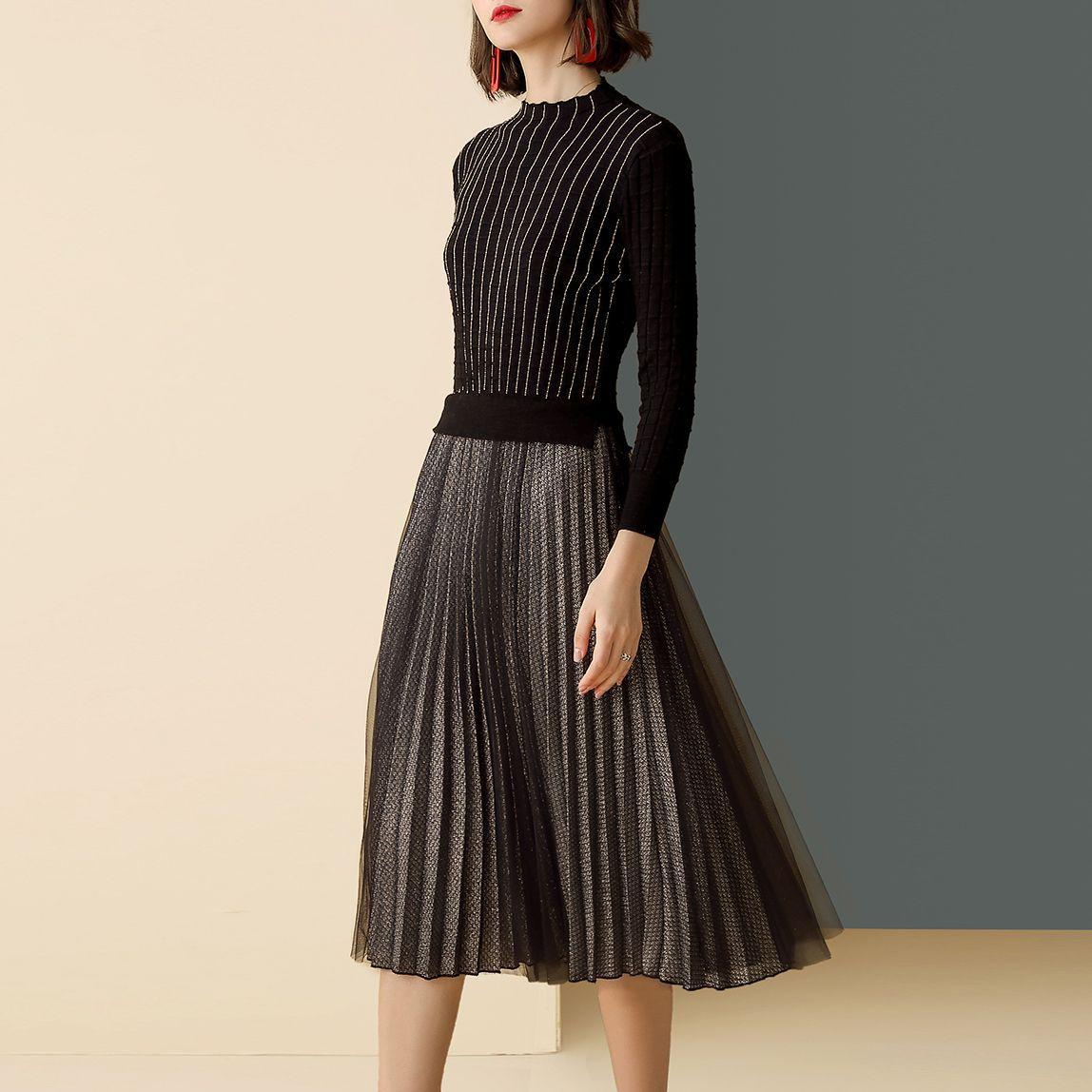 elegant vintage mesh pleated dress – clothinsstyle | pleated