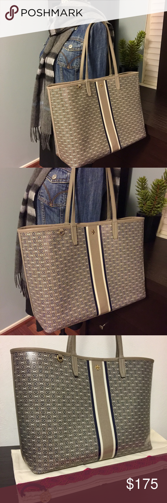 4f7d564d7 Tory Burch French Gray Gemini Link Stripe Tote Bag 100% authentic Tory  Burch Gemini Link tote bag in French gray. Preowned but in brand new  condition, ...