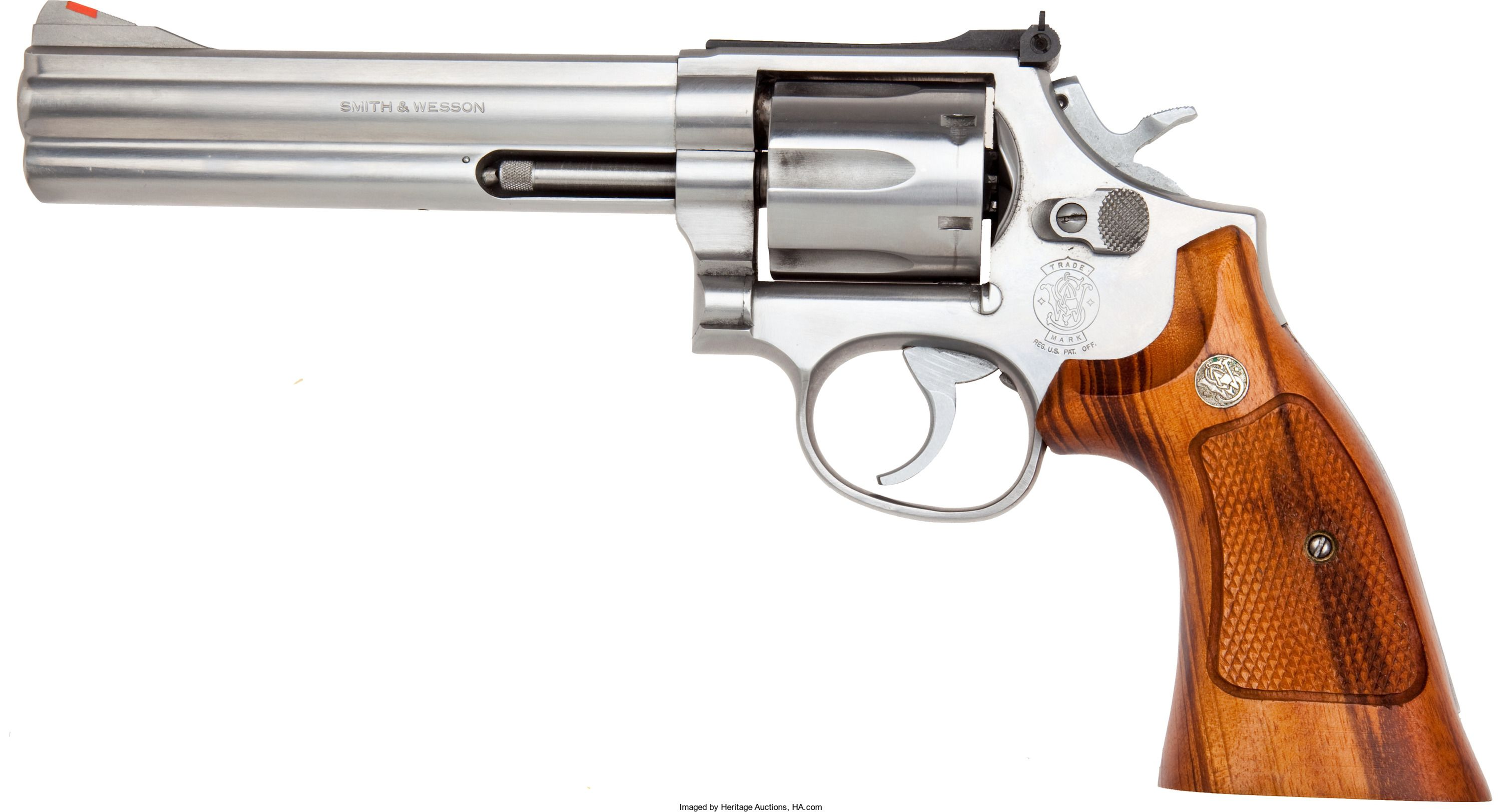 357 SW Model 686 Double Action Revolver Serial No AJW1702 Magnum 6 Inch Barrel Stainless Steel Finish With Checkered Walnut Grips