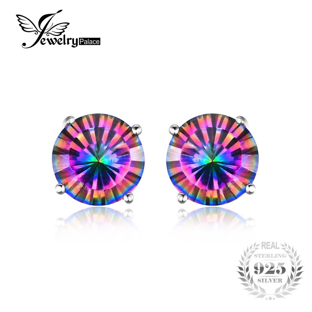 JewelryPalace 1.6ct Genuine Mystic Rainbow Mystical Topas Stud Earrings 925 Sterling Silver Jewelry Concave Round Women Earrings