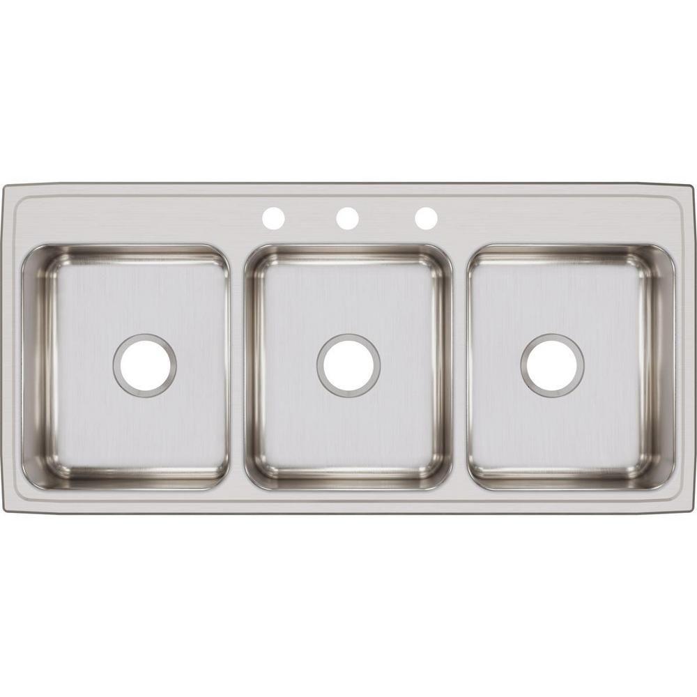 Elkay Lustertone Drop In Stainless Steel 46 In 3 Hole Triple Bowl Kitchen Sink Ltr46223 The Home Depot Elkay Drop In Kitchen Sink Stainless Steel Kitchen Sink