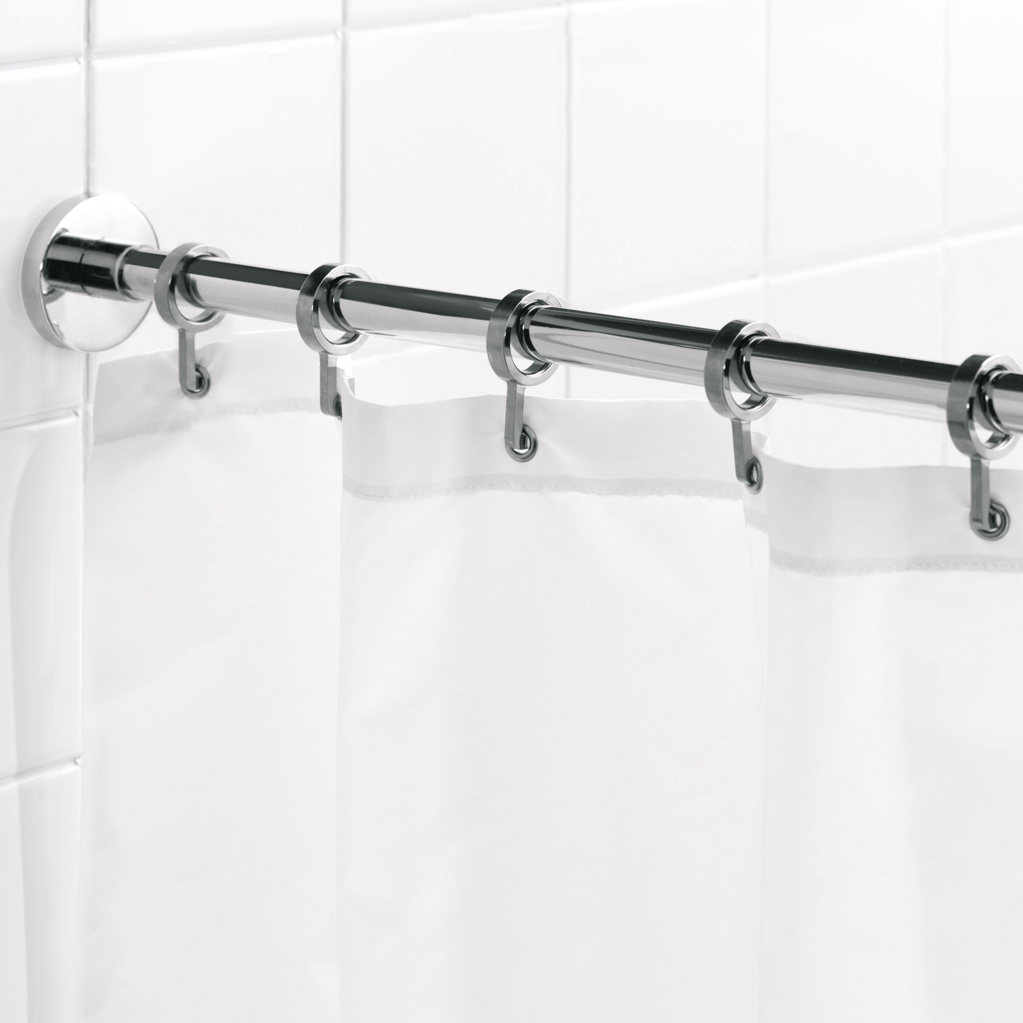Croydex Chrome Effect Shower Curtain Rod L 2500mm Departments
