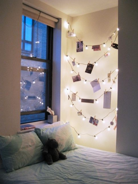 21 Ideas for Smart and Even Hilarious Dorm Room Decor - String theory! Instead of just hanging a string of lights, use the space you have and creatively stretch them over a wall. Use clothespins to hang favorite cards, photos, mementos from family, whatever you need for your dorm space!