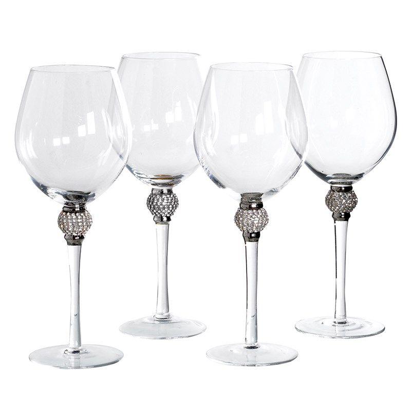 Diamante Stem Wine Glasses Crystal