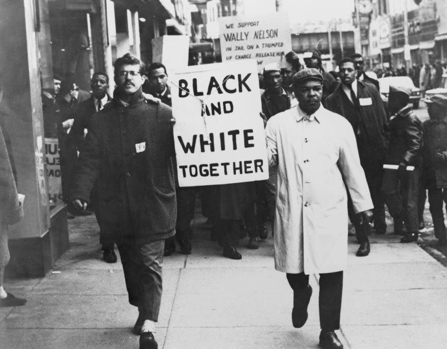 A White And A Black Man Leading A Civil Rights March Late 50s To Early 60s Black History Quotes Civil Rights March Black History