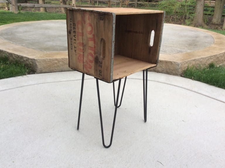 Antique Wood Crate Turned Into Side Table How To Antique Wood Handmade Wood Furniture