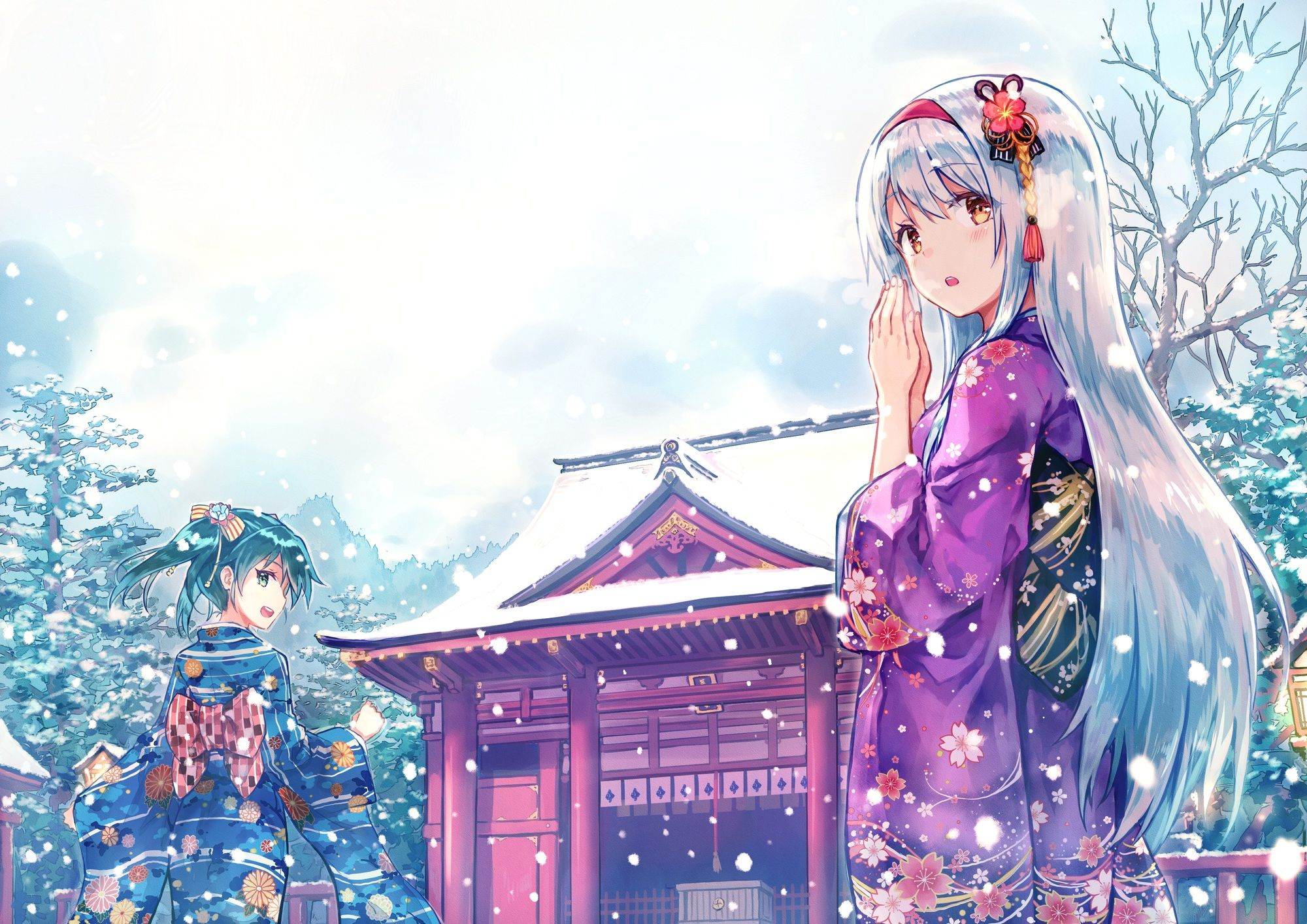 Konachan Com 209956 2girls Aqua Eyes Aqua Hair Bow Building Headband Hiten Goane Ryu Kimono Long Hair Orange Eyes Shrine S Anime Anime Wallpaper Anime Images