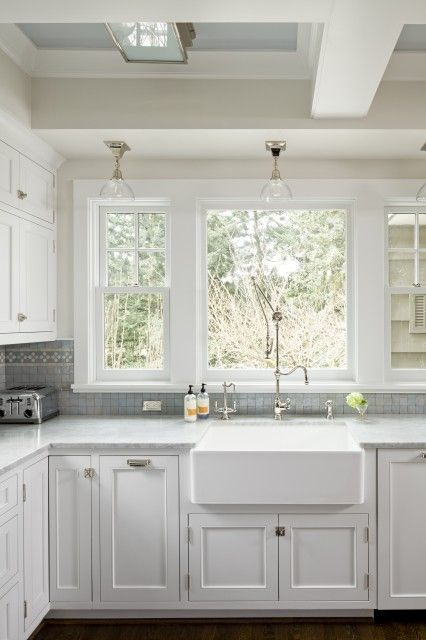 Jenny baines kitchens sand walls benjamin moore baby   breath white kitchen cabinets carrara marble countertops glass pendants also