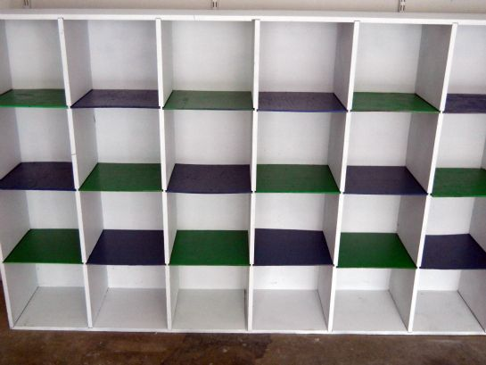 Old cubbie holes painted and updated