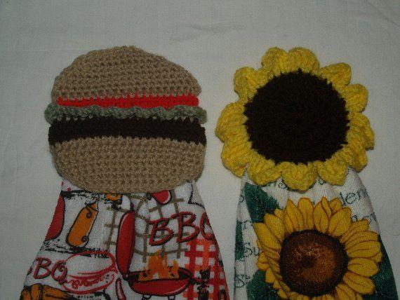 9 Crochet Towel Toppers-Acorn- Christmas Tree-Halloween Witch Hat-Owl- Pumpkin-Shamrock-Sunflower-Hambuger #sunflowerchristmastree