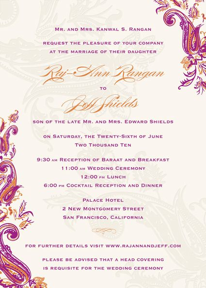 Sample Wedding Invitation Couple Hosting