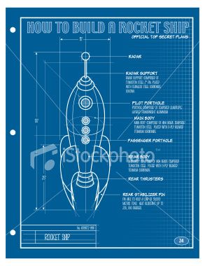 A vector illustration of a blueprint of a rocket ship vector art vector rocket ship blueprint royalty free stock vector art illustration malvernweather Choice Image