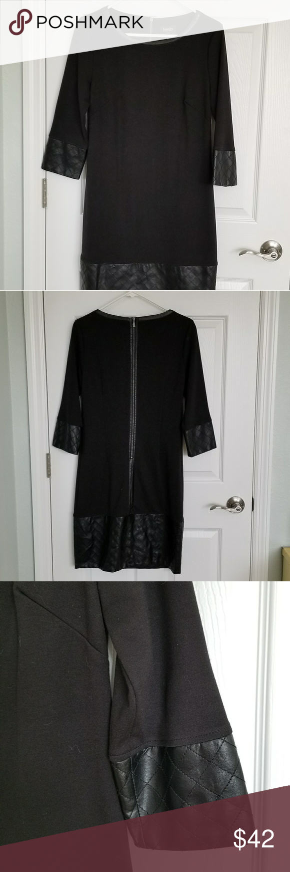NEW Laundry Leather Trim Knit Dress Sz 6 Gorgeous new Laundry by Shelli Segal black knit dress w faux leather at cuff and hem. Size 6. Never worn. Brand new. Great winter dress! Laundry By Shelli Segal Dresses