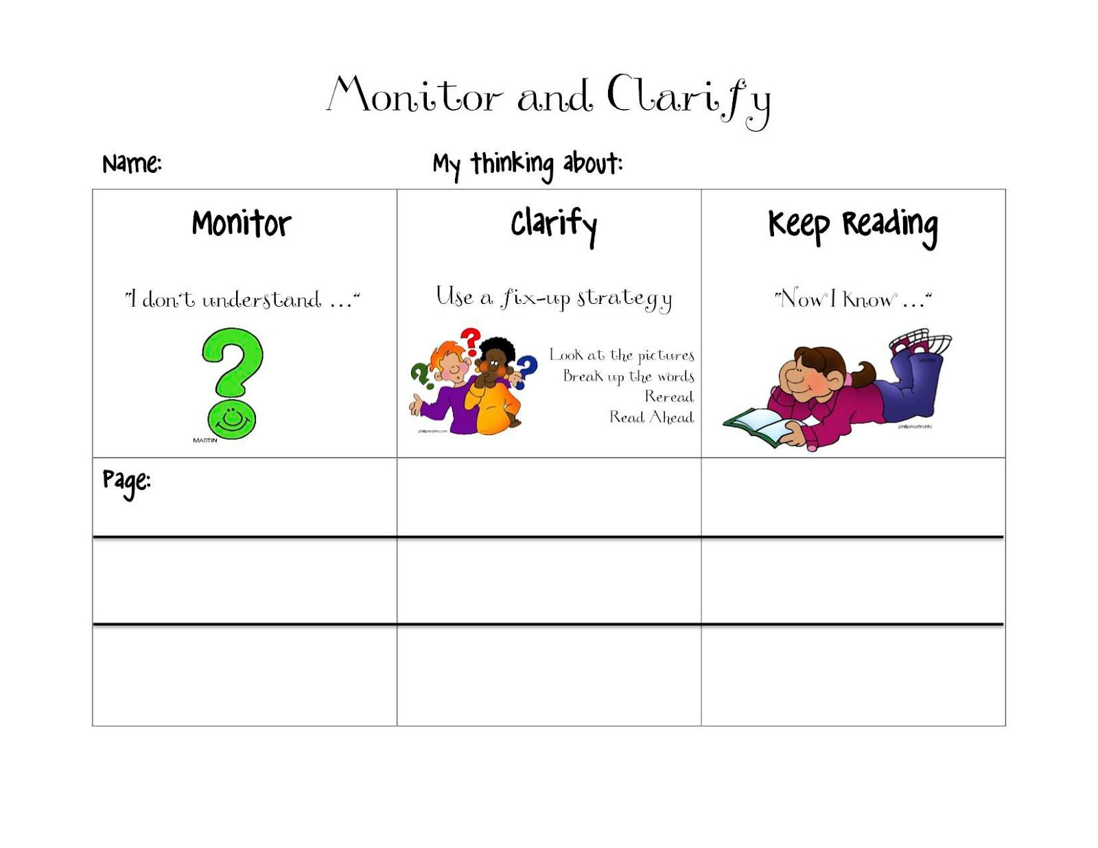 Monitor And Clarify Printable