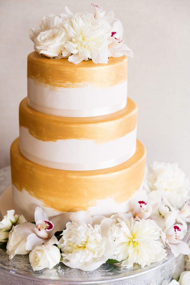 Three Tier White Fondant Cake with Gold Gilded Accent | Wedding ...