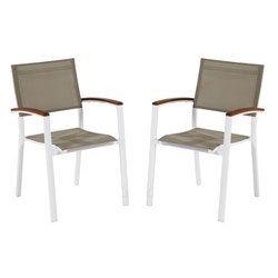 Satz aus 2 Stühlen CARLA Alu/Textilen/Holz #Gartenmöbel ...