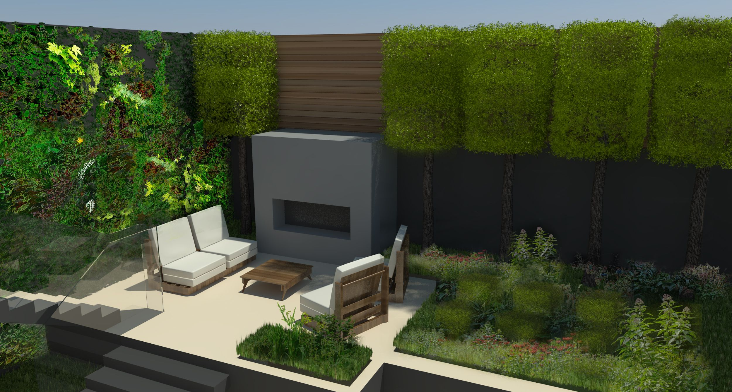 Chelsea garden Sketchup image by FORK Garden Design ... on Sketchup Backyard id=55599