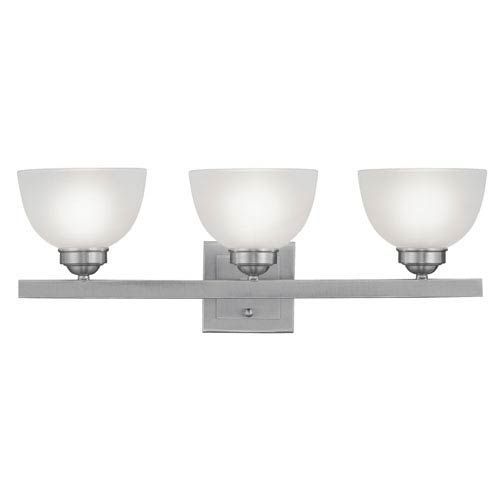 Photo of Livex Lighting 4203-91 Somerset Three-Light 25-inch bathroom tap with satin glass made of brushed nickel – brushed, contemporary and modern   Bellacor