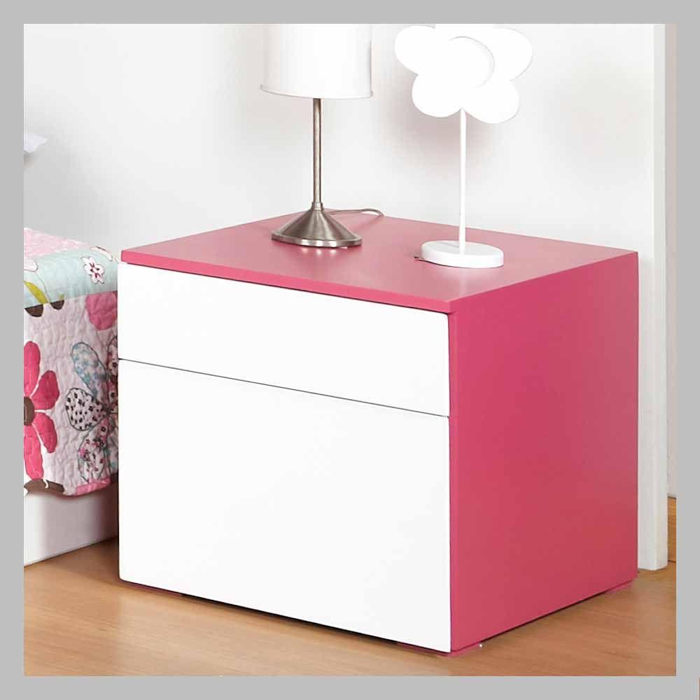 Mesa de noche rosada y blanca mn 03 mesa de noche moderna for Mesas de noche blancas
