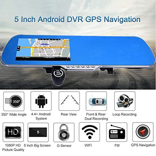 5 Inch Full HD 1080P Car DVR Driving Recorder With Front  Rear Dual Lens Parking Mode G Sensor Support GPS Navigation  Rear view  Wireless WIFI  FM Transmitting For Android System ** Want additional info? Click on the image.