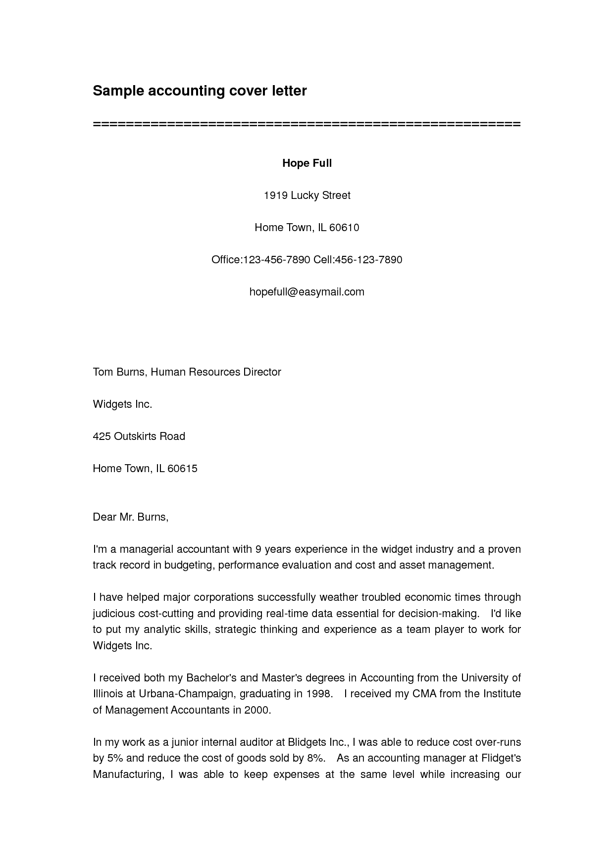 Sample Cover Letter For Bookkeeper - http://www.resumecareer.info ...