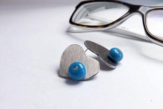 heart stud aluminium earrings with handmade turquoise by amabito, €15.00