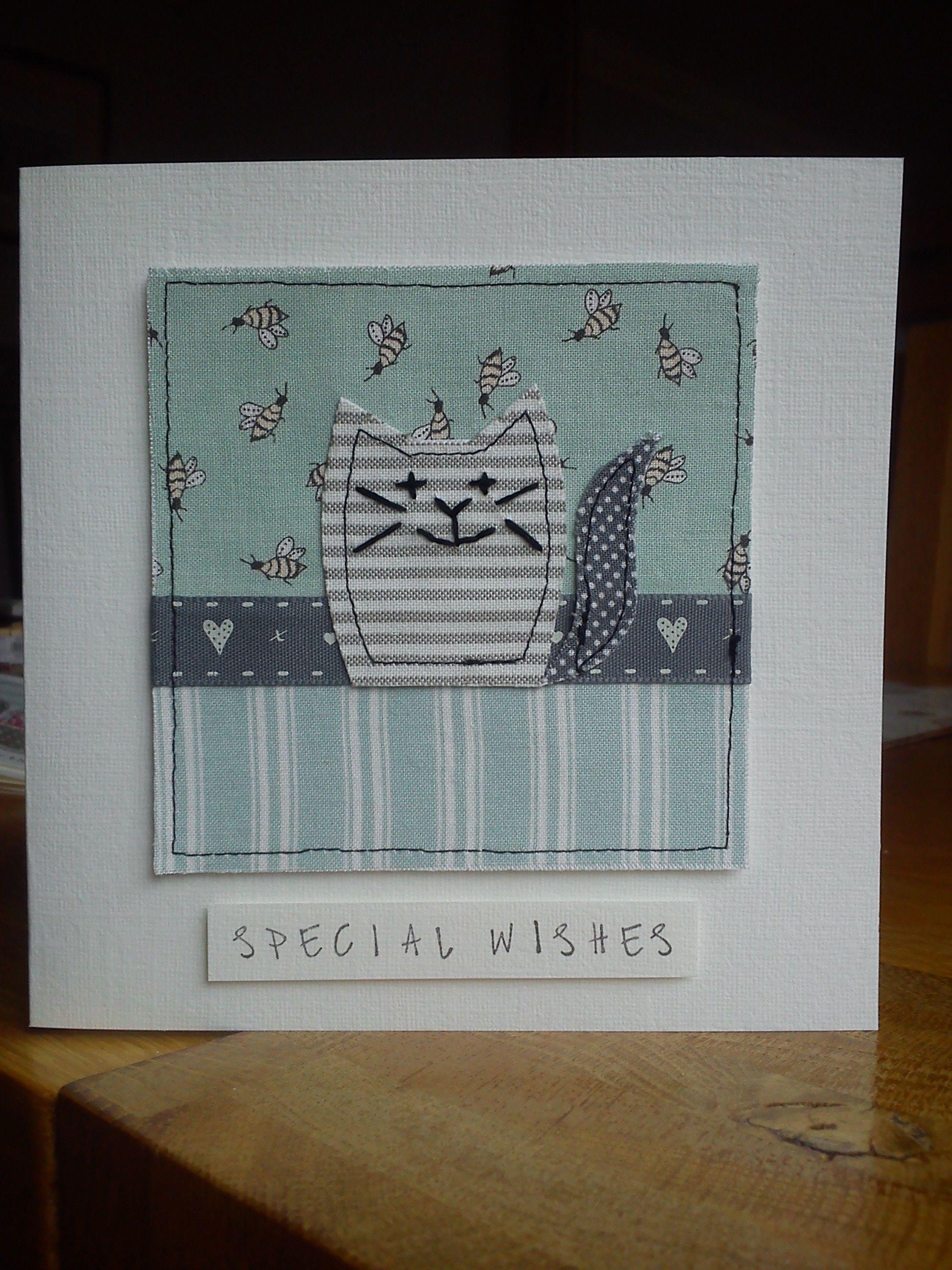 Handmade Machine Sewn Embroidered Cat Birthday Card Made With Moda