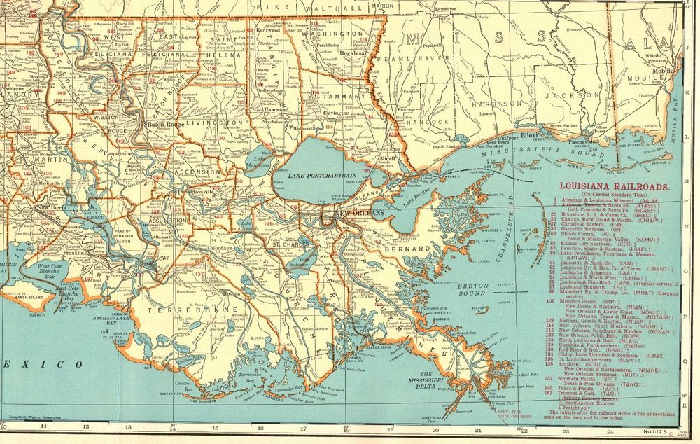 1930 Antique LOUISIANA State Map Vintage Map Louisiana RAILROADS ...