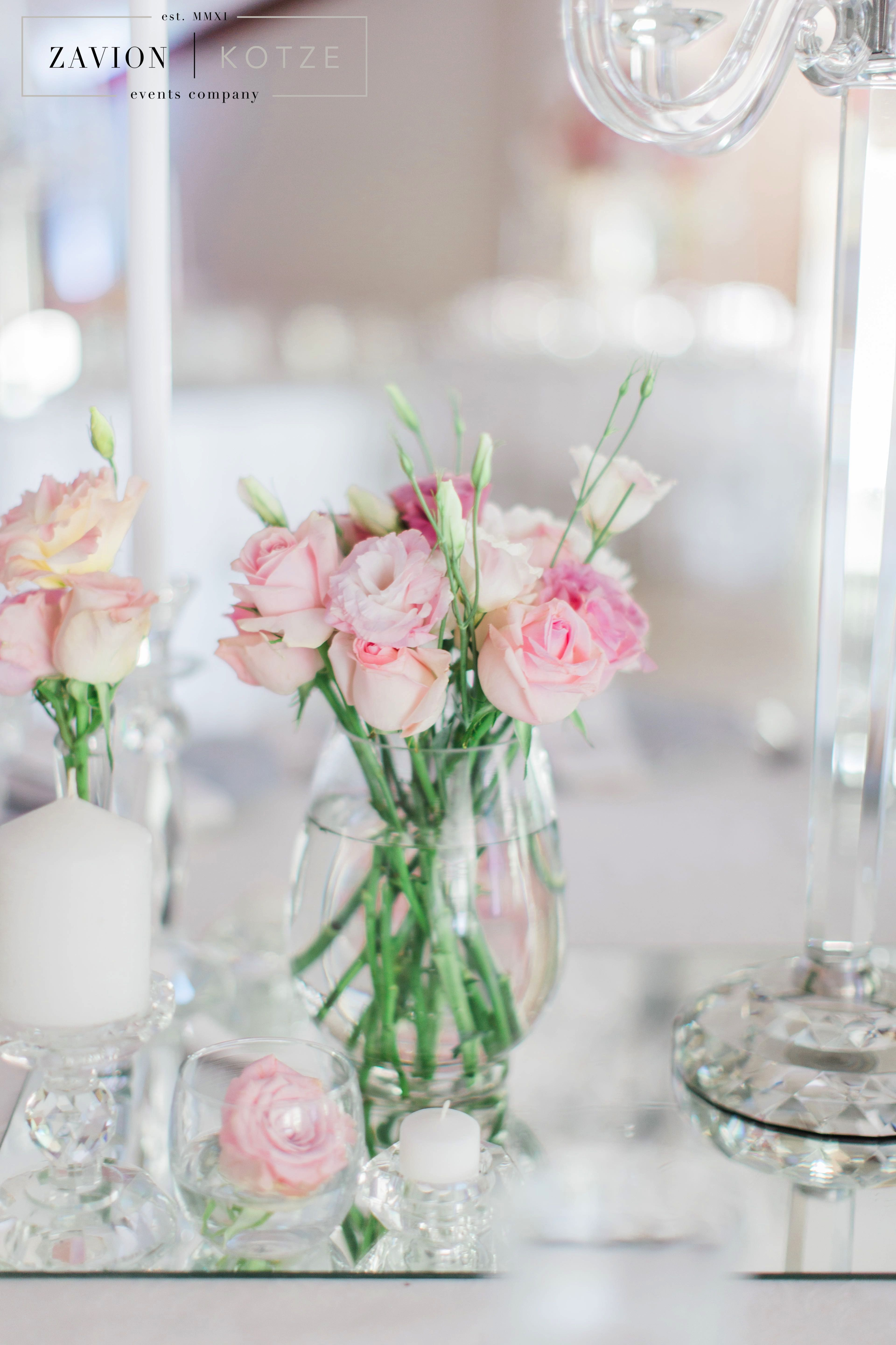 Soft pink hydrangeas, roses and orchids, silver decor wedding ...
