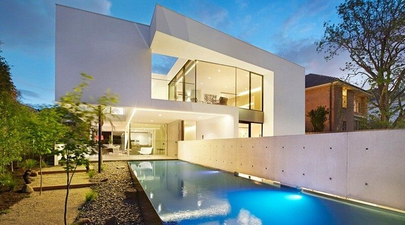 Casa con piscina residencias contemporaneas pinterest for Casa moderna blanca con piscina