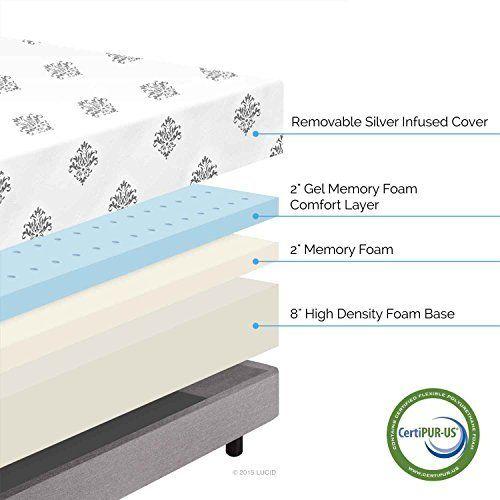 lucid 12 memory foam mattress LUCID 12 Inch Gel Memory Foam Mattress – Triple Layer – 4 Pound  lucid 12 memory foam mattress