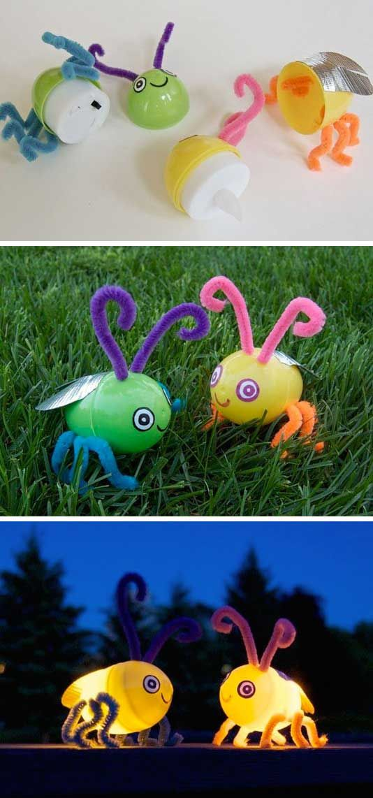Pop a tealight into plastic Easter eggs and then decorate them with pipe cleaner legs, googly eyes and duct tape wings to make these magic fireflies.