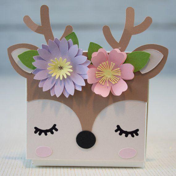 Woodland Animal Party Favor Cajas para Cumpleaños y Baby Showers con un Zorro, Ciervo, Oso, Mapache, Búho y Conejo