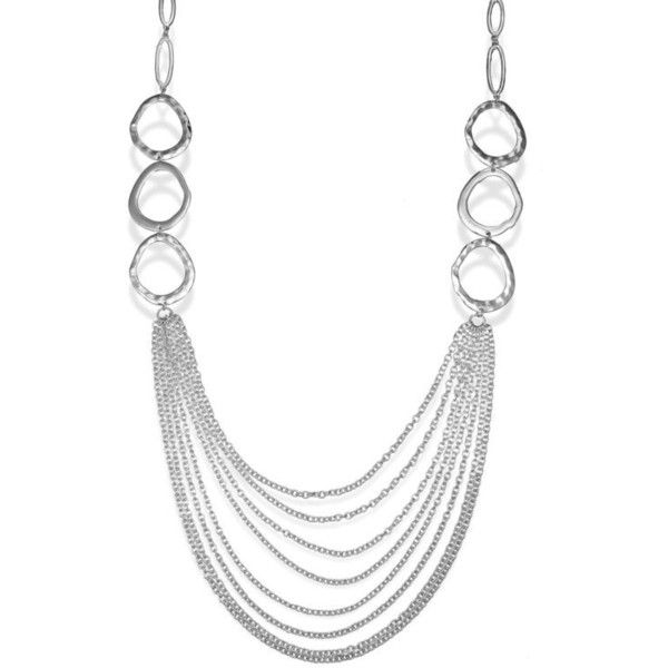 Jules B Silver Silver-Tone Statement Multi-Strand Long Necklace ($20) ❤ liked on Polyvore featuring jewelry, necklaces, silver, graduation jewelry, multi-chain necklace, silver jewelry, graduation necklace and multiple chain necklace