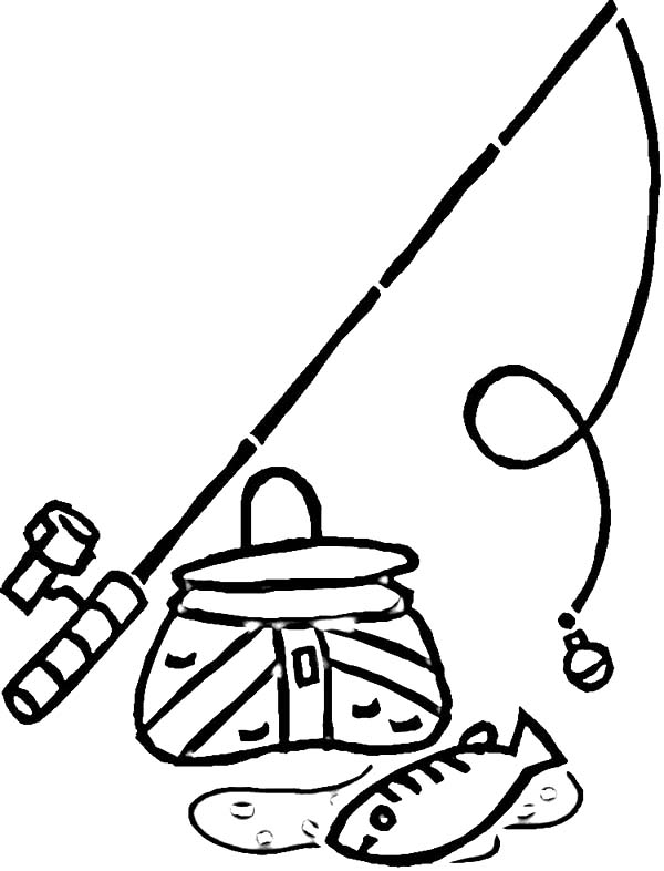 Fishing Pole And A Bucket Of Fish Coloring Pages Download Print Online Coloring Pages For Free Fish Coloring Page Online Coloring Pages Cool Coloring Pages
