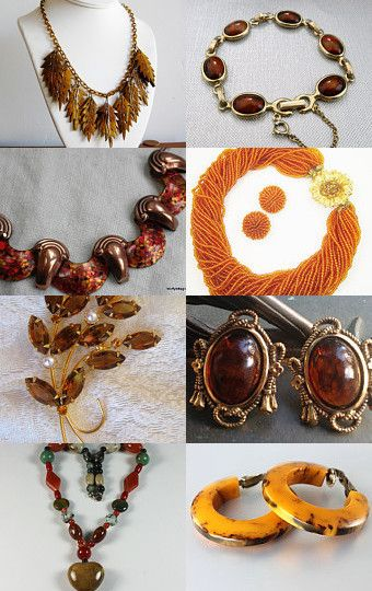 Warm, Earthy Autumn Vintage Jewelry by Anjali on Etsy--Pinned with TreasuryPin.com