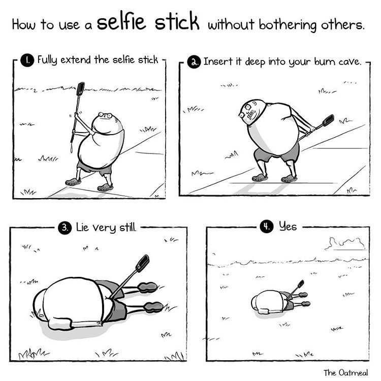 How To Use A Selfie Stick Without Bothering Others Humor - Replacing guns in famous movie scenes with selfie sticks is way better than youd imagine