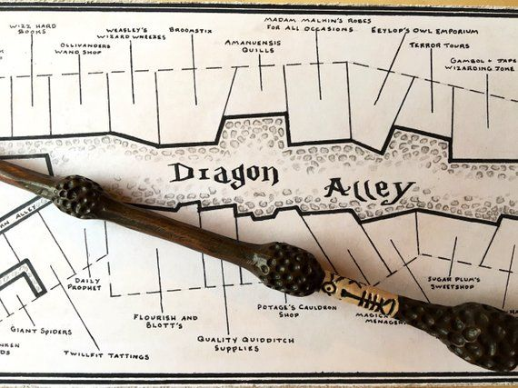 Diagon Alley Map Diagon Alley Harry Potter Book Accurate Hand Drawn Map   Products