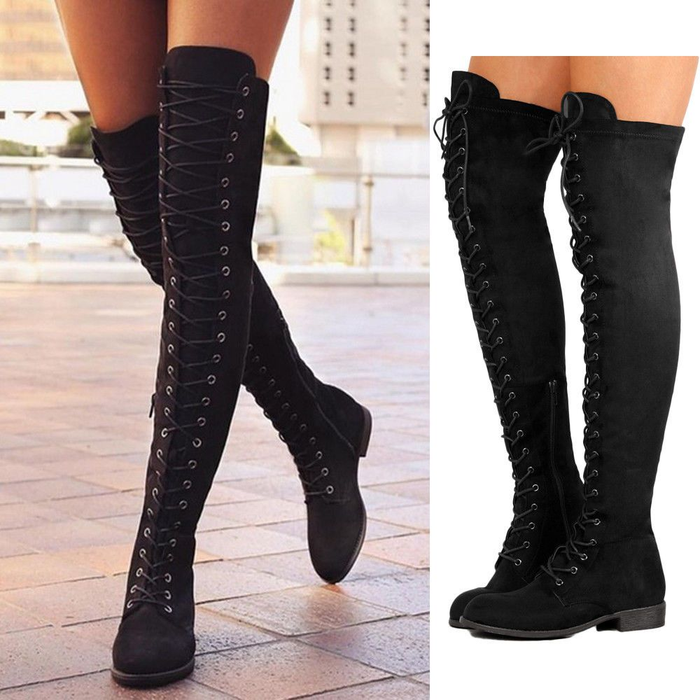 Womens Over Knee Flat Boots Ladies Lace Side Zip Winter Boot Shoes UK Size  2-10